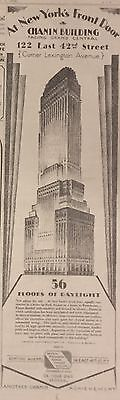 1928 NY Times newspaper w lg ART DECO CHANIN BUILDING AD Poster NYC ARCHITECTURE