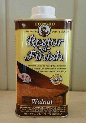 HOWARD RESTOR-A-FINISH ~ Walnut Color ~ Wood Furniture Restorer 8 oz