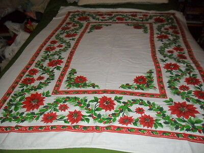 VINTAGE CHRISTMAS TABLECLOTH/ COVER- HOLLY & POINSETTIA SQUARE pat.50x58""