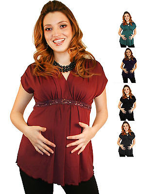 Burgundy Short Sleeve Lace Detail Wine Maternity Blouse Pregnancy Various Colors