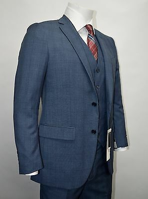 Men's Blue Glen Plaid 3 Piece 2 Button Slim Fit Suit SIZE 44R NEW