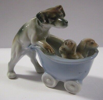 """Vintage BEAGLE PUSHING BABY CARRIAGE w/ PUPPIES Dog Figurine Terrier JAPAN 3.5"""""""