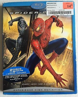 SPIDER-MAN 3 (BLU-RAY Disc, 2007, 2-DISC SET) WITH SLIPCOVER -LIKE NEW!!