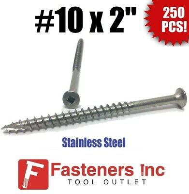 """(Qty 250) #10 x 2"""" Stainless Steel Deck Screws Square Drive Wood Type 17"""