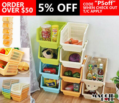 4x Home Organizer storage basket Stacking bin containers Stackable 16L Yellow