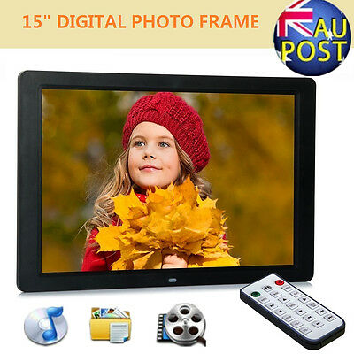 "15"" LED HD Digital Photo Frame Video Alarm Clock Photograph + Remote Controller"