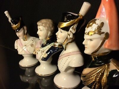Arnart 5th Ave. Vintage. Porcelain Sculptures. 4 Soldier's Busts. Hand Painted.