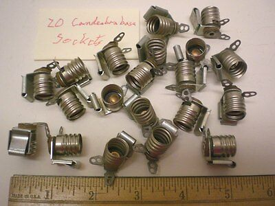 Lot of 20 Candlelabra Base Sockets w/Clip, Leecraft, Made in USA