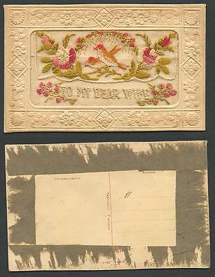 WW1 SILK Embroidered Old Postcard To My Dear Wife Birds Flowers and Empty Wallet