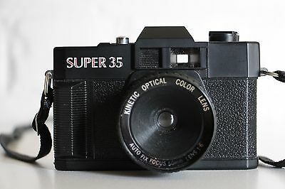 SUPER 35 Plastic Point and Shoot Camera + KINETIC OPTICAL COLOR LENS **WORKING**