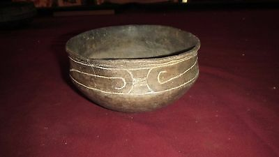 Ancient Native American Indian Pottery Caddo Ripley Engraved Bowl - Solid