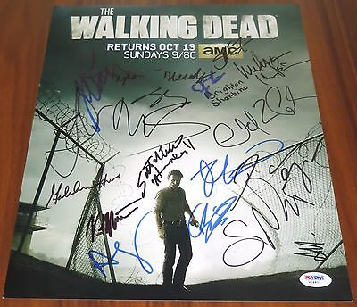The Walking Dead Cast Signed 11x14 By 18 Lincoln Reedus Yeun Cohan Riggs PSA LOA