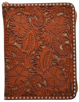 3D Western Bible Cover Floral Tooled Hair-on Inlay Antique Silver DBI343