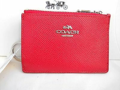 Coach Ladies Mini Skinny Embossed Leather ID Wallet Keychain - Red - NWT $50