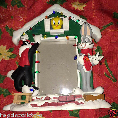 Looney Tunes Christmas HOLIDAY PICTURE FRAME Sylvester Tweety Bugs Bunny House