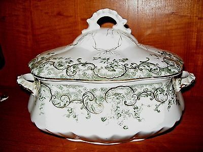 DUNNBENNETT BURSLEM ENGLAND Recherche Tureen Cover Vegetable Green Transferware