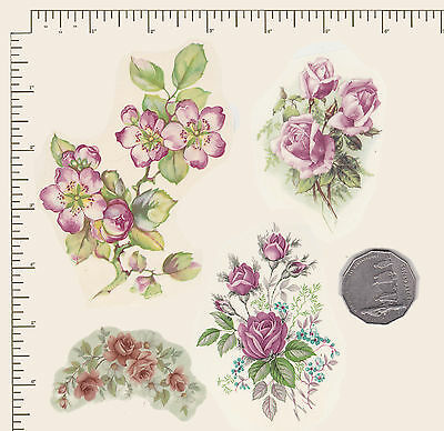 4  x Waterslide ceramic decals Pink floral mix.  Roses Apple blossom. PD860
