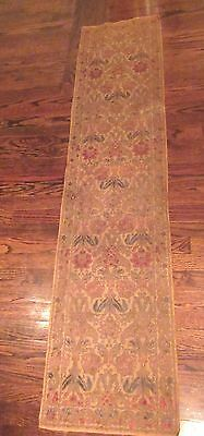 vintage ornate embroidered centerpiece table mat runner linen needlepoint 69 in.