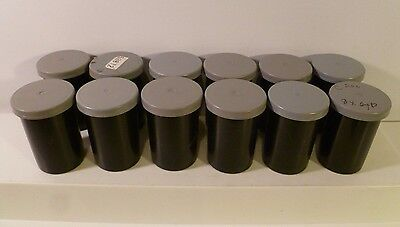 LOT of 12 Black Plastic 35mm Film Containers w/ Gray Lids
