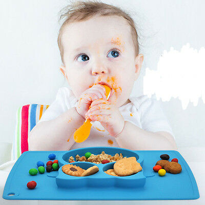 Owl One-Piece Silicone Plates Child Kids Safe Baby Food Divided Bowl Placemats