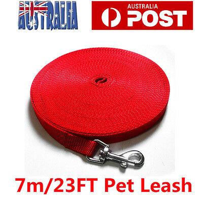 7m Long Dog Pet Puppy Training Obedience Recall Lead Leash  Walk Rope Red