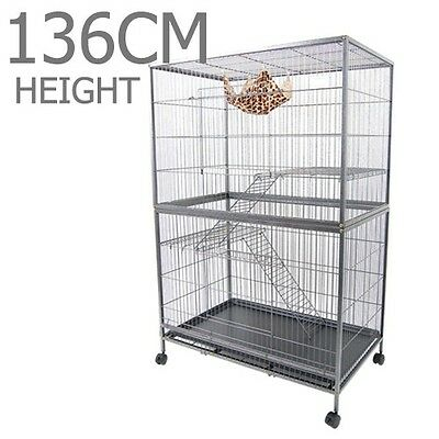 New Large 3 Level Parrot Aviary Budgie Canary Bird Rat Cage on Wheels 136CM