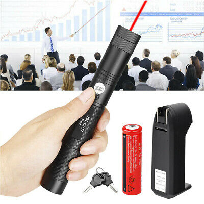 10 Miles 650nm Red Laser Pointer Pen Visible Beam Light Lazer + 18650 + Charger