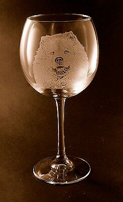 New Etched Chow Chow on Large Elegant Wine Glasses