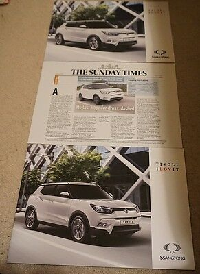 SsangYong Tivoli 2015 Brochure, Sheet & Sunday Times Road Test Reprint