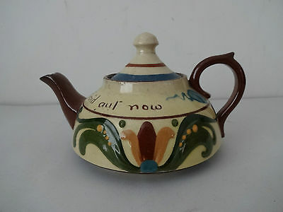 "Vintage Motto Ware Torquay/Devon Pottery- Tea Pot ""Dawnt'ee be fraid aut now"""