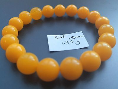 Baltic Amber bracelet, round beads 10mm 11.44grams butterscotch color A03