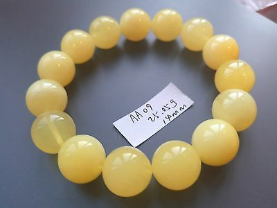 Baltic Amber bracelet, round beads 14mm 25.05grams yellow color AA09