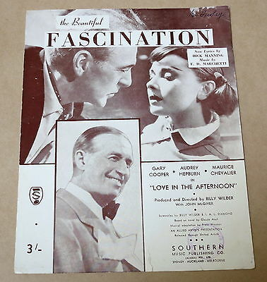 Vintage Sheet Music * Fascination * Love In The Afternoon *  1954