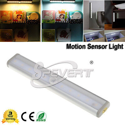 Battery Powered AUTO PIR Motion Sensor 10 LED Cabinet Light Drawer Wardrobe Lamp