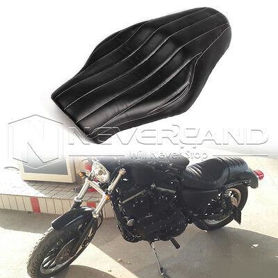 Black Two 2-UP Seat For Harley Sportster XL883 XL1200 48 2004-2013
