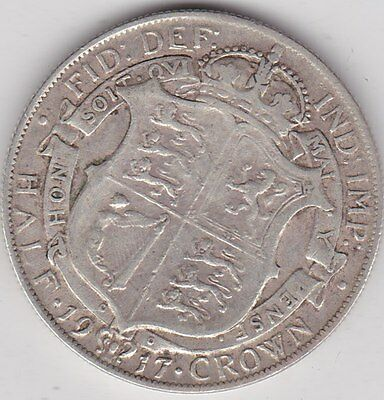 1917 George V Silver Half Crown In Good Fine Condition