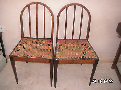 """Pair of Wooden Cane Seat Bedroom Chairs GC 31.5""""H 16.5""""W 15""""D"""
