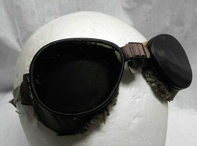 Vintage Foster Grant glass motorcycle or mountaineering pilot goggles 1945 NOS