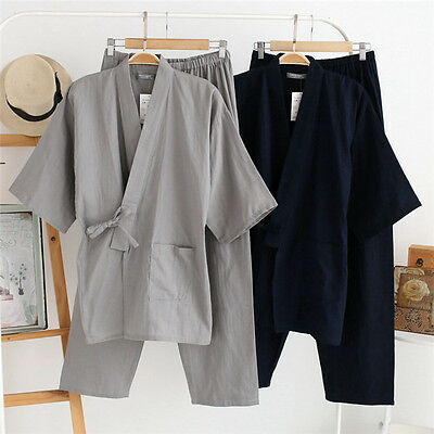 Mens Cotton Kimono Pajamas Pants Set Sleepwear Nightwear Loose Tops Short Sleeve