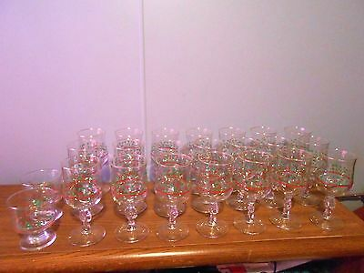 23 Arbys Bow Stem Christmas Holly Berries Glass Stemware Goblet Gold Trim Cup