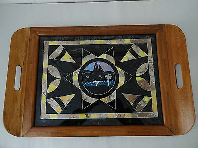 Large Vintage Wooden Tray Inlaid Marquetry Glass Encased-Butterfly Wings Brazil?
