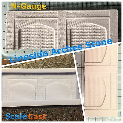N Gauge Twin Lineside Arches Mould - Stone Arches With STONE Walling - N-Scale