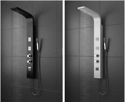 Thermostatic Shower Panel Column Tower With Body Jets Twin Head Bathroom Shower
