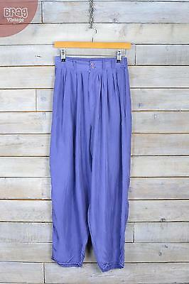 Vintage Violet Blue Silk Baggy Trousers (W26 L25) (8)