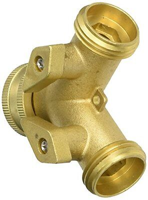 Mintcraft 3/4 Garden Two-Way Hose Connector With Shut-off, Brass
