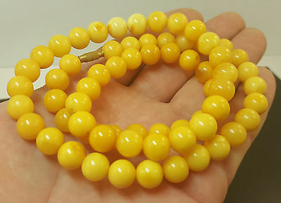 Necklace Natural Baltic Amber Stone 33g Butterscotch Egg Yolk Vintage Old A-313