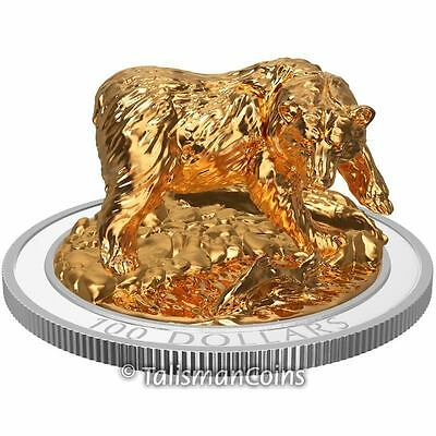 Canada 2017 Grizzly Bear Majestic Animals Sculpture $100 10 Oz Silver + Full OGP