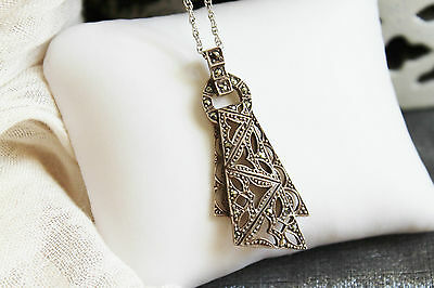 Art Deco Vintage Sterling Silver Marcasite Filigree Lace Pendant Chain Necklace