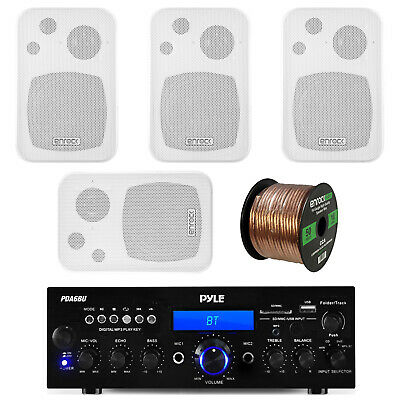 "Pyle Bluetooth USB Receiver, Black 4""  Enrock In/Outdoor Speakers and Wiring"