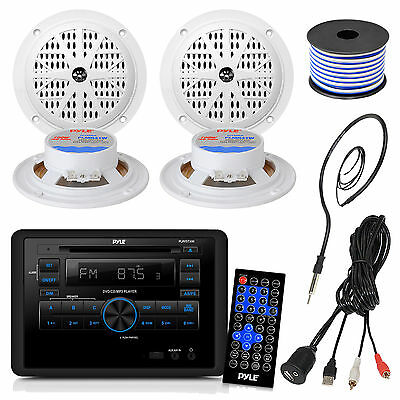"""Pyle RV Wall Mount CD DVD USB Receiver, Antenna, 4"""" Speaker Set, USBAUX Cable"""